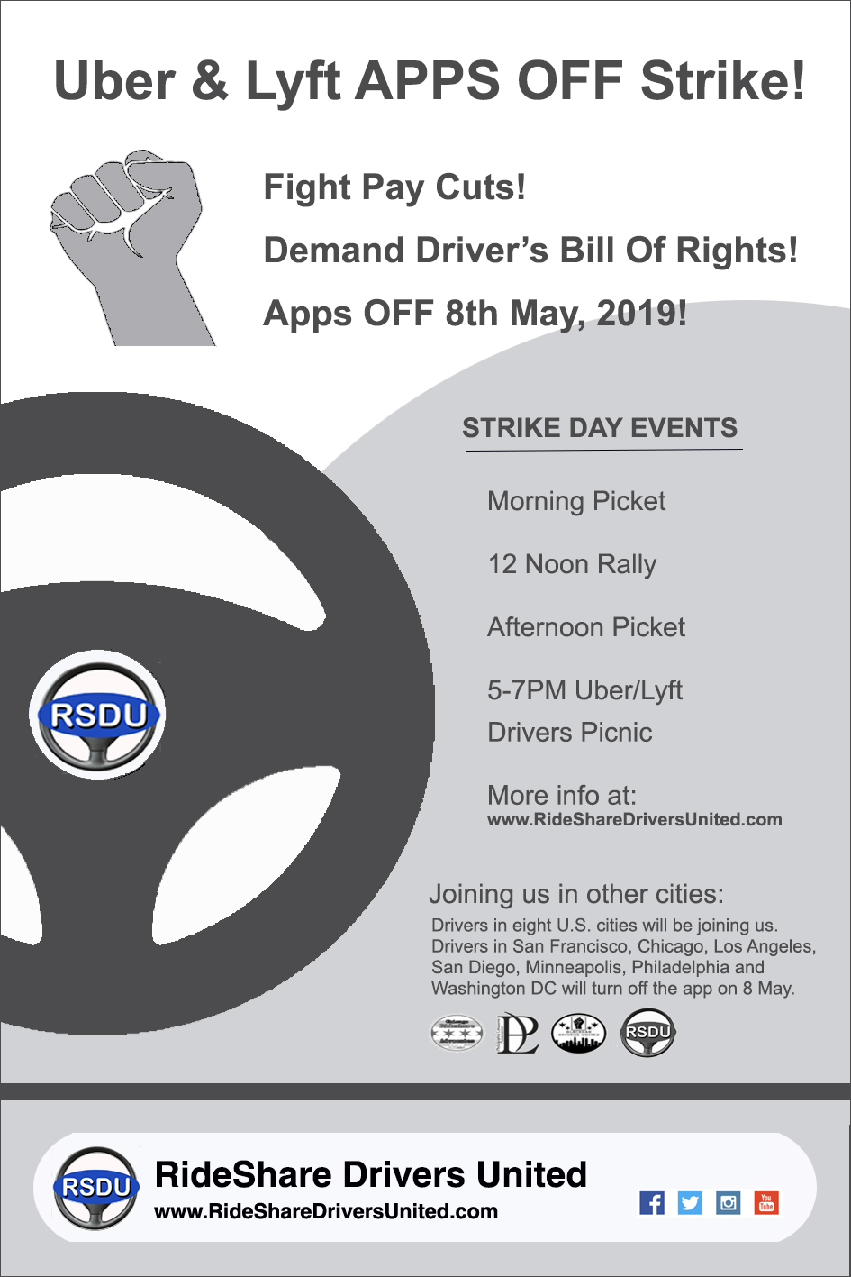 RideShare Drivers United are calling for a 24hrs strike 8 May 2019